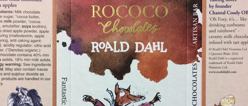 Rococo Chocolates - Roald Dahl bar packaging
