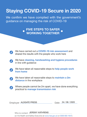 workplace covid-19 statement